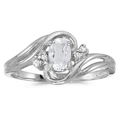 White Topaz and Diamond Swirl Ring in 14k White Gold (0.61ctw)