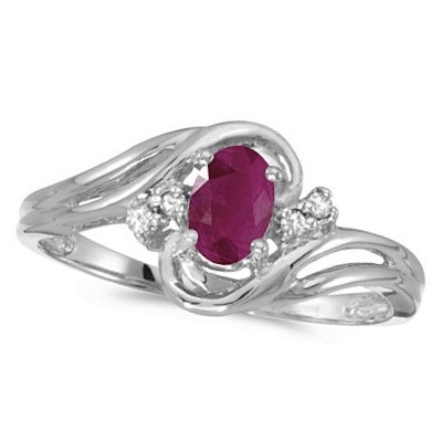 Ruby and Diamond Swirl Ring in 14k White Gold (0.95ctw)