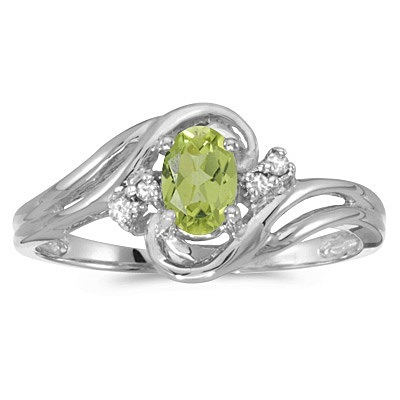 Peridot and Diamond Swirl Ring in 14k White Gold (0.95ctw)