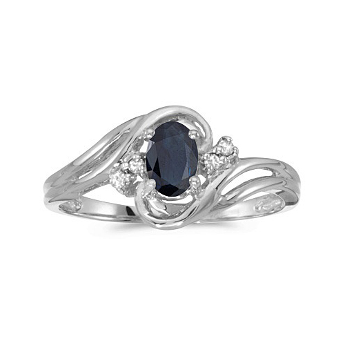 Blue Sapphire and Diamond Swirl Ring in 14k White Gold