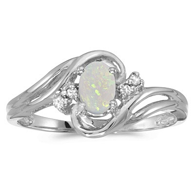 Opal and Diamond Swirl Ring in 14k White Gold (0.95ctw)