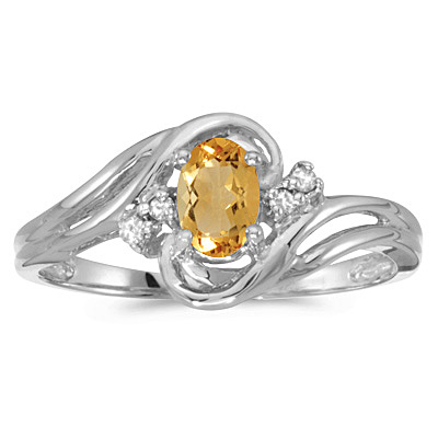 Citrine and Diamond Swirl Ring in 14k White Gold (0.50ctw)