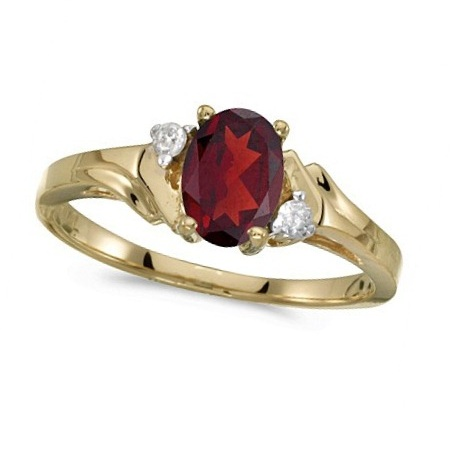 Oval Garnet and Diamond Cocktail Ring 14K Yellow Gold (0.95ct)