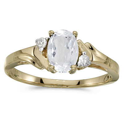 Oval White Topaz and Diamond Accented Ring 14K Yellow Gold (1.00ct)