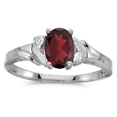 Oval Garnet and Diamond Cocktail Ring 14K White Gold (0.95ct)