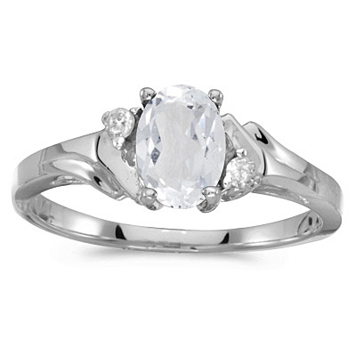 Oval White Topaz and Diamond Accented Ring 14K White Gold (1.00ct)