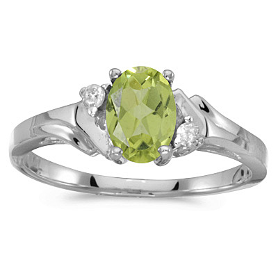 Oval Peridot and Diamond Ring in 14K White Gold (0.95ct)