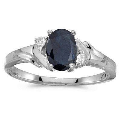 Oval Blue Sapphire and Diamond Ring in 14K White Gold (0.95ct)