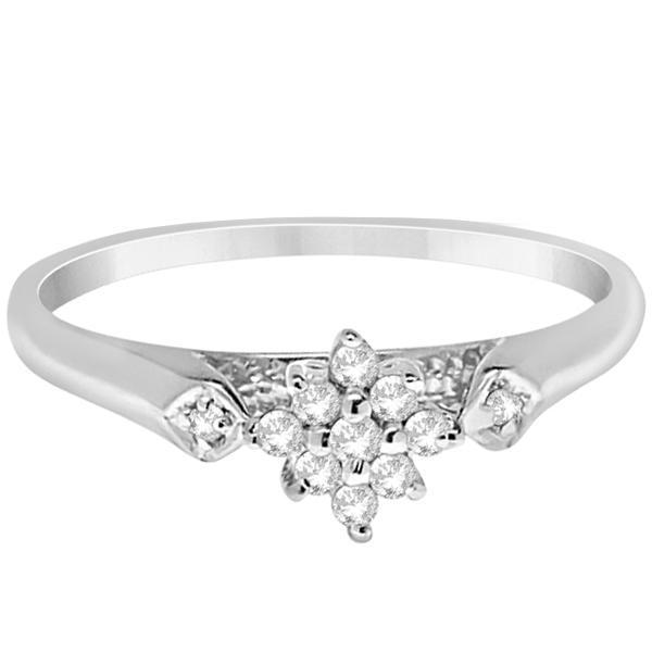 Flower Ladies Diamond Cluster Promise Ring 14K White Gold (0.10ct)
