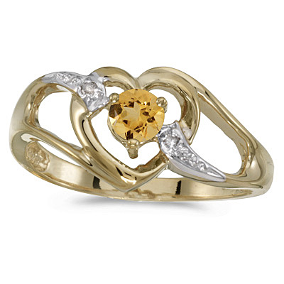 Citrine & Diamond Heart Right-Hand Ring in 14k Yellow Gold (0.20ct)