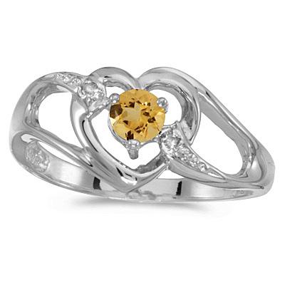 Citrine & Diamond Heart Right-Hand Ring in 14k White Gold (0.20ct)