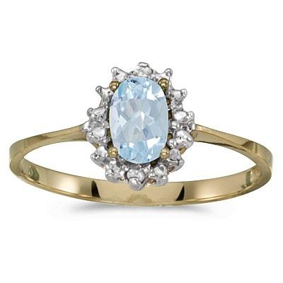 Aquamarine & Diamond Right Hand Flower Shaped Ring 14k Yellow Gold