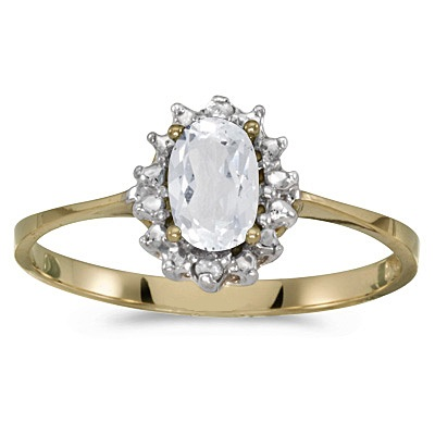 White Topaz & Diamond Flower Shaped Ring 14k Yellow Gold (0.59ct)