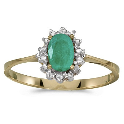 Emerald & Diamond Right Hand Flower Shaped Ring 14k Yellow Gold (0.45ct)