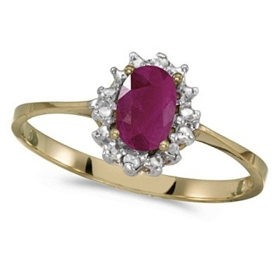 Ruby & Diamond Right Hand Flower Shaped Ring 14k Yellow Gold (0.55ct)