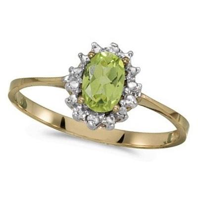 Peridot & Diamond Right Hand Flower Shaped Ring 14k Yellow Gold (0.55ct)