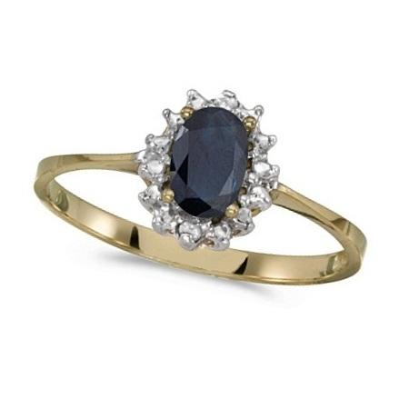 Blue Sapphire & Diamond Lady Diana Ring 14k Yellow Gold (0.60ct)