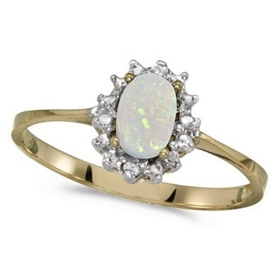 Opal & Diamond Right Hand Flower Shaped Ring 14k Yellow Gold (0.55ct)