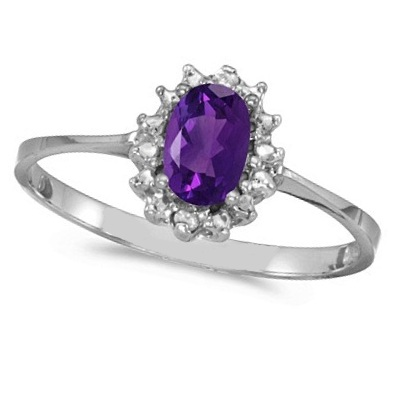 Amethyst & Diamond Right Hand Flower Shaped Ring 14k White Gold (0.45ct)
