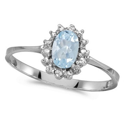 Aquamarine & Diamond Right Hand Flower Shaped Ring 14k White Gold