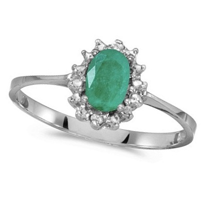 Emerald & Diamond Right Hand Flower Shaped Ring 14k White Gold (0.45ct)
