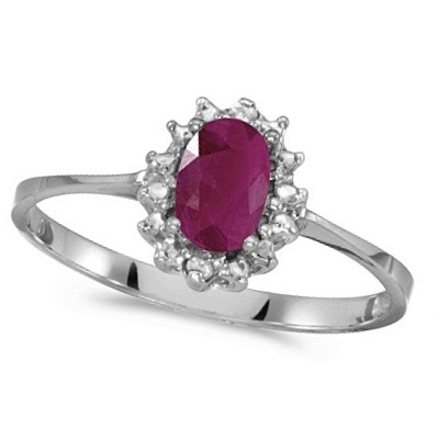 Ruby & Diamond Right Hand Flower Shaped Ring 14k White Gold (0.55ct)