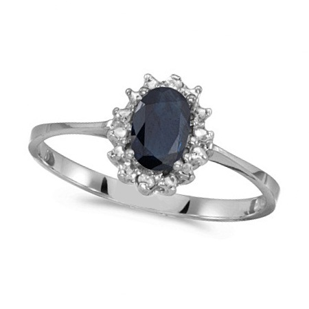 Blue Sapphire & Diamond Lady Diana Ring 14k White Gold (0.60ct)