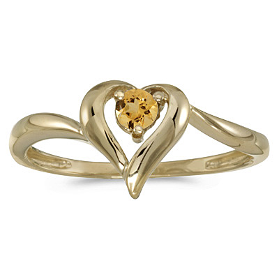 Citrine Heart Right-Hand Ring in 14k Yellow Gold (0.20ct)