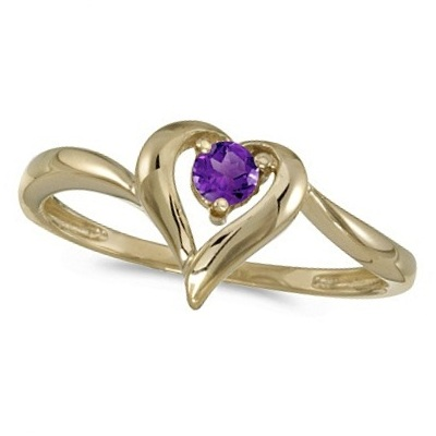 Amethyst Heart Right-Hand Ring in 14k Yellow Gold (0.20ct)