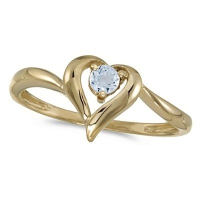 Aquamarine Heart Right-Hand Ring in 14k Yellow Gold (0.23ct)