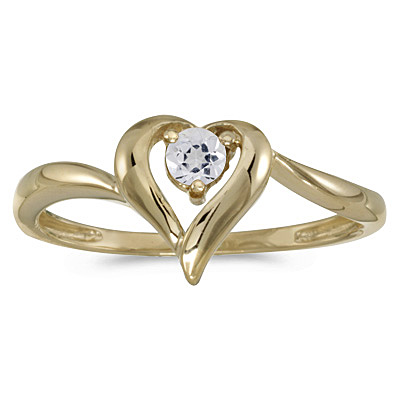 White Topaz Heart Shaped Right-Hand Ring 14k Yellow Gold (0.30ct)