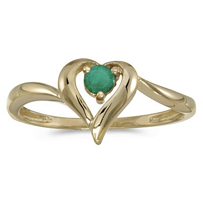 Emerald Heart Right-Hand Ring in 14k Yellow Gold (0.25ct)