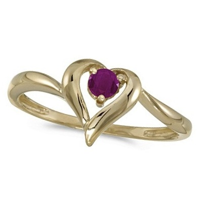 Ruby Heart Right-Hand Ring in 14k Yellow Gold (0.30ct)