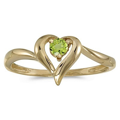 Peridot Heart Right-Hand Ring in 14k Yellow Gold (0.30ct)