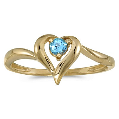 Blue Topaz Heart Right-Hand Ring in 14k Yellow Gold (0.30ct)