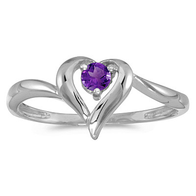 Amethyst Heart Right-Hand Ring in 14k White Gold (0.20ct)