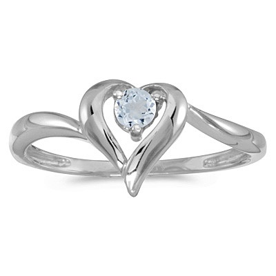 Aquamarine Heart Right-Hand Ring in 14k White Gold (0.23ct)