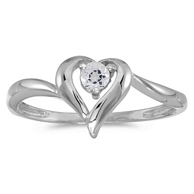 White Topaz Heart Shaped Right-Hand Ring 14k White Gold (0.30ct)