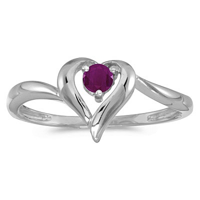 Ruby Heart Right-Hand Ring in 14k White Gold (0.30ct)