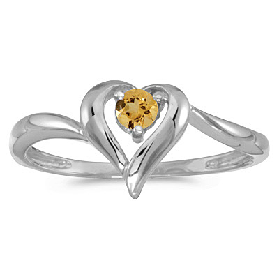 Citrine Heart Right-Hand Ring in 14k White Gold (0.20ct)