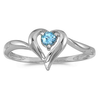 Blue Topaz Heart Right-Hand Ring in 14k White Gold (0.30ct)