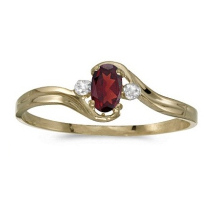 Oval Garnet and Diamond Right-Hand Ring 14K Yellow Gold (0.25ctw)