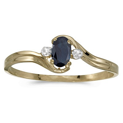 Oval Blue Sapphire & Diamond Right-Hand Ring 14K Yellow Gold (0.25ctw)