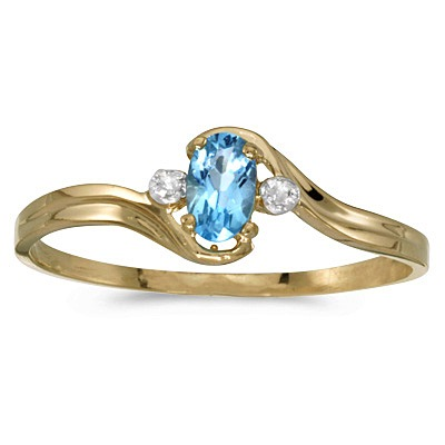Oval Blue Topaz and Diamond Right-Hand Ring 14K Yellow Gold (0.28ctw)