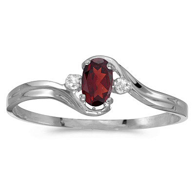 Oval Garnet and Diamond Right-Hand Ring 14K White Gold (0.25ctw)