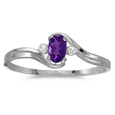 Oval Amethyst and Diamond Right-Hand Ring 14K White Gold (0.23ctw)