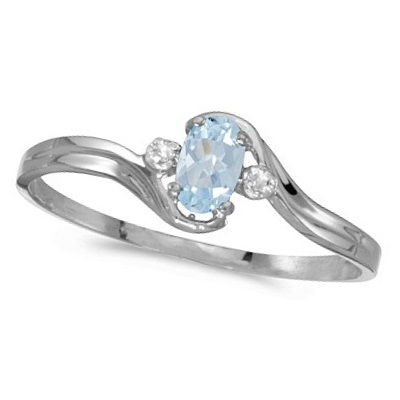 Oval Aquamarine and Diamond Right-Hand Ring 14K White Gold (0.20ctw)