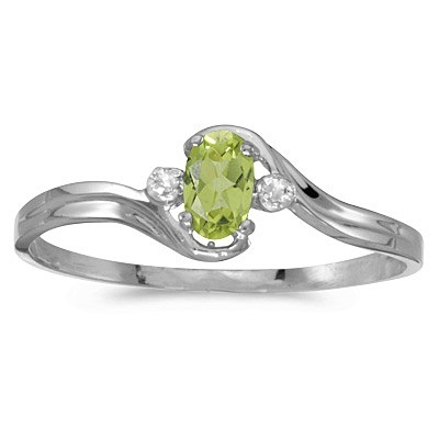 Oval Peridot and Diamond Right-Hand Ring 14K White Gold (0.25ctw)