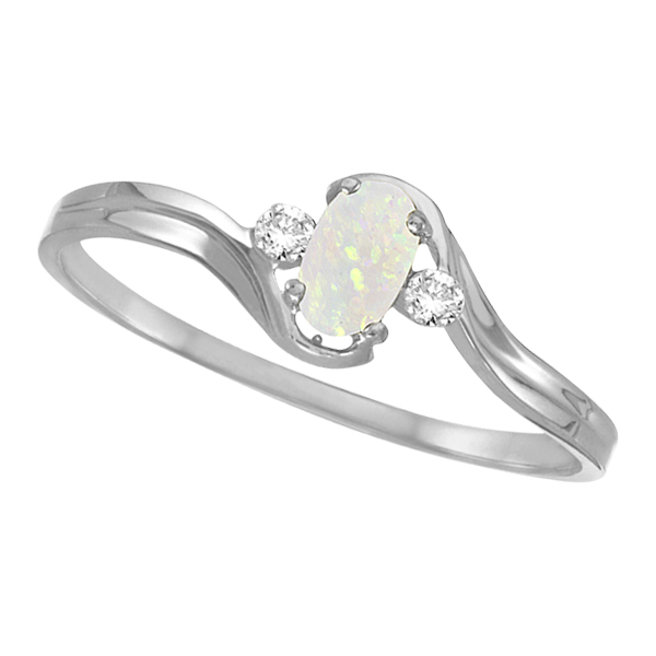 Oval Opal and Diamond Ring in 14K White Gold (0.16ct)