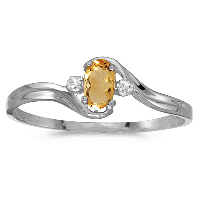 Oval Citrine and Diamond Right-Hand Ring 14K White Gold (0.24ct)